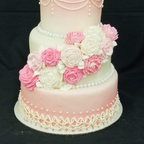 pink airbrush wedding cake